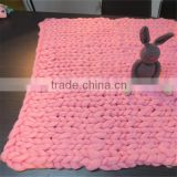 pink hand made chunky wool knit blanket throw