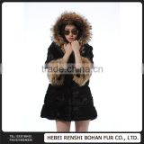 Factory Price Raccoon Fur Collar Whole Rabbit Whole Skin Plus Imports Long Jacket