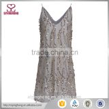 2016 hot sale sexy girls evening mini dress Spaghetti strap White Double V-neck Sequin Embellished Cami Shift Dress