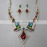 Bright Color Clear Crystal Pave Collar Shape Statement Teardrop Accent Classic Necklace Earrings Set