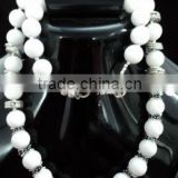 White Agate German Silver Necklace