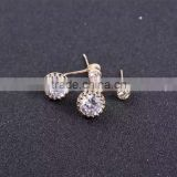 Round shape zircon stud earrings CZ diamond stainless steel stud earring
