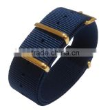 Gold Hardware Navy Blue Ballistic Nylon Watch Strap 24mm