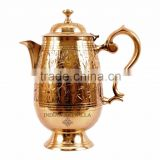 IndianArtVilla Designer Brass Jug Pitcher 1400 ML with Attached Lid - Serving Drinking Water Tableware Home Hotel Restaurant