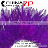 ZPDECOR Wholesale Good Quality Bleached Dyed PURPLE Strung Chinese Rooster Saddle Feathers