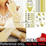 custom waterproof gold and silver foil metallic temporary tattoo sticker
