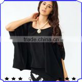 Guangzhou Tops Factory manufacturer Women Loose Batwing sleeve designer western tops images