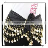 Gold Coins Belly Dance Hip Scarf Costume Belt Black