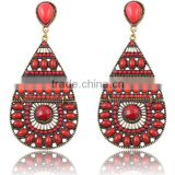 Red bead jewelry rhinestone alloy plated modern girls single stone earring designs