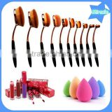 pro Toothbrush Shape Oval Makeup Brush Foundation Powder Eyebrow Make up Brushes Beauty Tools ROSE Gold White 10PCS/set