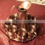 Pure Solid Copper Mug and Charger Plate for serving Moscow Mule Recipe