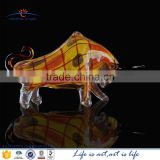 bulk decorative modern hand made life size glass bull statue sculpture for gift sale