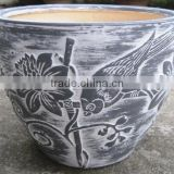 Indoor wash vase - Indoor pottery with round rim and pattern outside