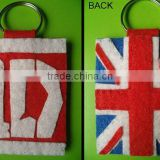 New cheap wholesale fashion UK design key ring product promotional gift craft fabric felt country flag keychain made in China