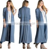 Women Tunic Tops Long Sleeve Bulk Wholesale Trendy Plain Jersey Knit Longline Open Spring Blue Slim Fit Maxi Long Cardigan