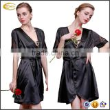 Ecoach Wholesale OEM Black lace patchwork v neck short sleeves mini NightRobe with sash hot summer Satin bathrobe for women