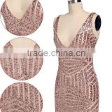 Sexy Women V Neck Gold Lace Club Dress Bodycon Skirt Set 2 Pieces Sleeveless Celebrity Bandage Dress