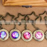 Handmade jewelry nebula keyrings,bronze alloy star keychains,starry sky cabochon bag pendants