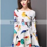 Casual 2015 Summer Style Sexy Bodycon Birds Print O Neck Pleated Party White Dress Women Vestidos Cheap Clothes China