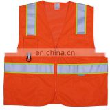 Orange polyester hi vis safety vest with porket