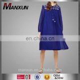 Lovely Girls Fashion Clothing Long Sleeve Floral Printed Women Dresses Navy Blue Pleated Top Tunic