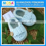Wholesale Knitted Newborn Shoes ,Cotton Handmade Toddler Girl Booties ,Baby Mary Jane Shoes Slippers Sky Blue White