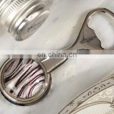 Silver and Burgundy Art Deco Glass Bead Bottle Openers