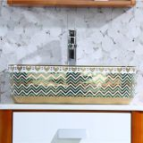 Latest luxury design ceramic tabletop rectangle colorful wash hand basin sink from chaozhou