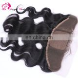Alibaba hot selling large stock wholsale body wave silk base frontal