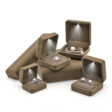 Brown velvet ring box with LED light, velvet bracelet box, LED pendant box with light