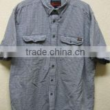 Cotton grey plaid canvas shirt with button-down outdoor rugged look mens casual short sleeve work shirt