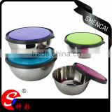 high quality food storage box/stainless steel mixing bowl set/salad bowl set metal with lid