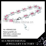 Perfect glass ruby stones inlay 925 silver jewelry adjustable Lobster Clasp saudi gold jewelry bracelet for women