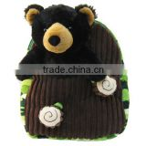 "13""*11""Black Bear in Tree Plush Kids Backpack/Plush Animated Animal Bear Backpack/Lovely Plush Animal Toy Backpack"