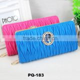 NEW Women Clutch Purse Bag Big stone Handbag PU Leather wrinkled Wallet for Lady