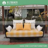 Outdoor patio balcony synthetic rattan resin wicker two seat double garden swing chair