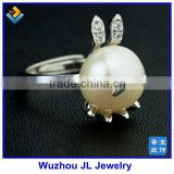 New Hot Products Bunny Rabbit Natural Pearl Beads Adjusted 925 Silver Ring