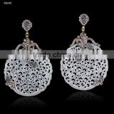 White Agate Gemstone Carving Earrings, Pave Fashion Jewelry, 925 Sterling Silver Diamond Earrings, Carving Jewelry Manufacturer