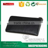 Bulk black zipper men leather pouch