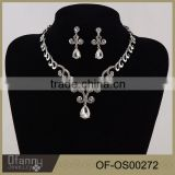 High-end jewelry Korean bride rhinestone alloy necklace earring sets wedding accessories