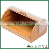 Mix material bamboo bread storage box with plastic lid