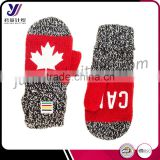 Canada red maple leaf acrylic winter knit mittens and gloves with fleece (can be customized