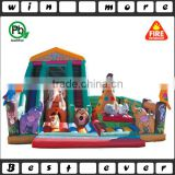 inflatable jumping safari bed for kids, kid bounce bed with slide for sale