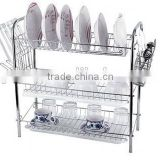 3 tiers durable steel tube dish rack ,Kitchen dish rack ,dish drying rack,with single plastic tray .