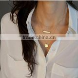 Women Simple Personality Stunning Golden Bar Circle Pendant Alloy Necklace
