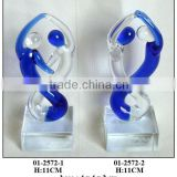 blue and clear glass dancer decoration