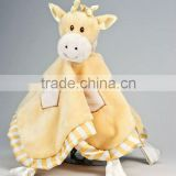 ultra soft and unbelievably cute Yellow and cream plush baby Giraffe blanket baby plush toys with embroidery