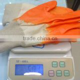 Heavy duty cotton knit gloves,safety cuff,blue/yellow nitrile coated, working gloves in CHINA