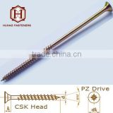 long size coating yellow zinc PZ drive chipboard screw fibre board nail to wood partial thread