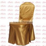 Polyester shining satin chair cover wedding banquet chair cover with butterfly pleats and pipes